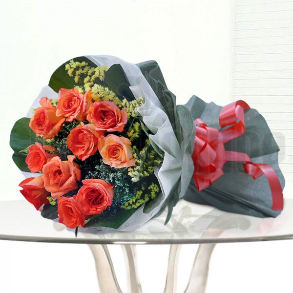10 Orange Roses wrapped in special paper
