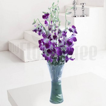 6 Purple Orchids with Arica Palm Leaves in a Glass Vase
