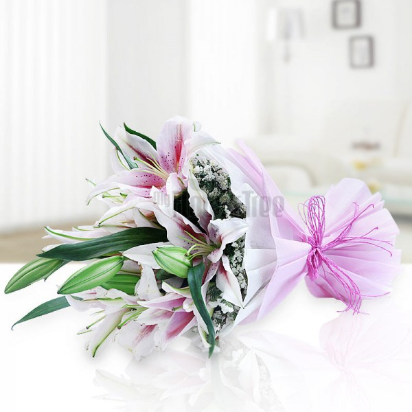 12 Pink Asiatic Lilies wrapped in special paper