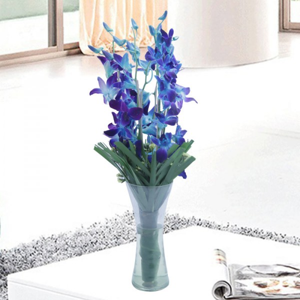 6 Blue Orchids with Arica Palm Leaves in a Glass Vase