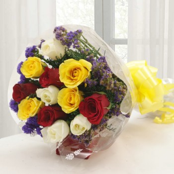 12 Roses (Red, Yellow and White) Bunch