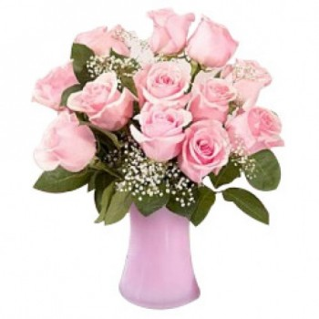 12 Light Pink Roses in a Glass Vase