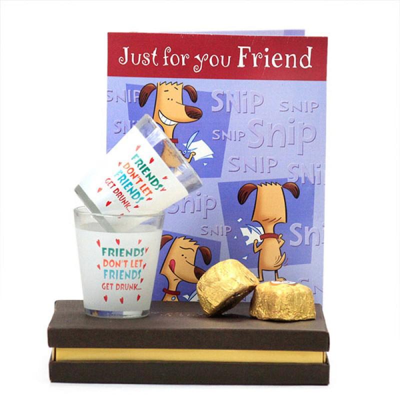 Friendship Shot Glasses n Chocolates Hamper