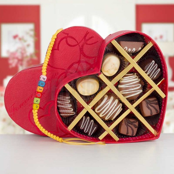 10 assorted Chocolate in Heart Shape Box with Friendship Day Band