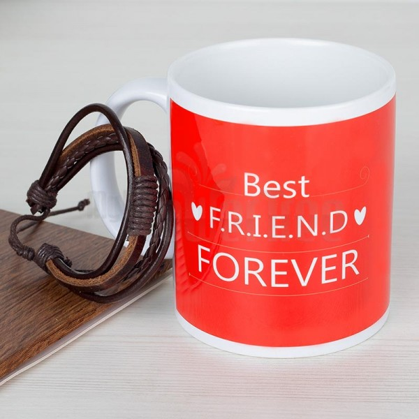 Friendship Day Band with Printed Coffee Mug for Best Friend