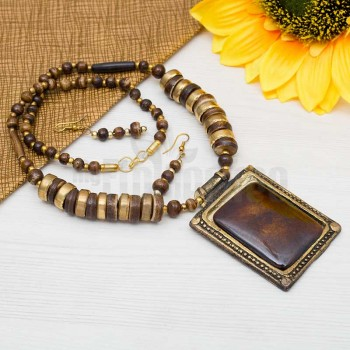 Brown Stone Necklace Set