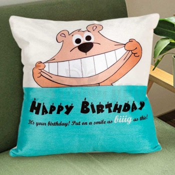Blue Teddy Birthday Cushion