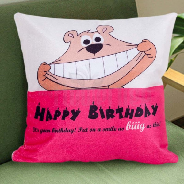 Pink Teddy Birthday Cushion