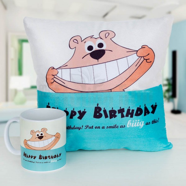Blue Teddy Birthday Cushion and Mug Set