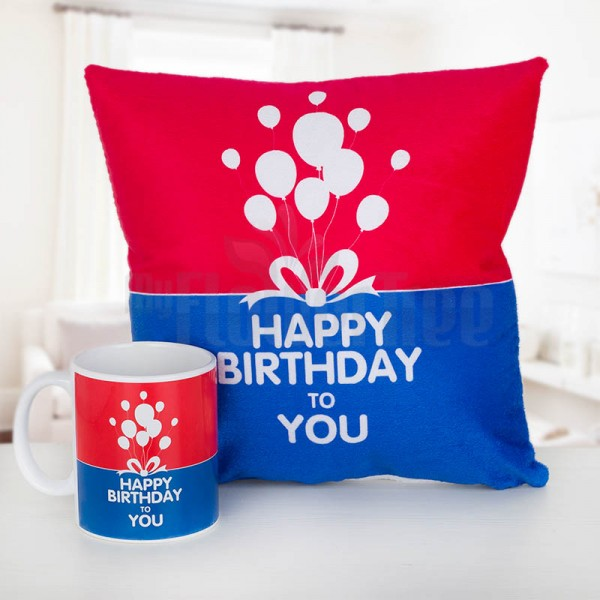 Birthday Cushion and Mug