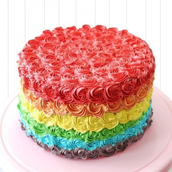 One Kg Designer Rainbow Rose Vanilla Cream Cake