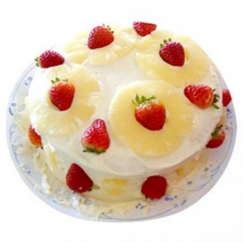 Half Kg Pineapple and Strawberry Fruit Cake