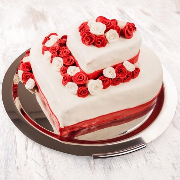2 Tier Vanilla and Strawberry Fondant Cake