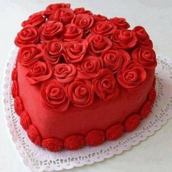 One Kg Heart Shape Red Velvet Fondant Cake