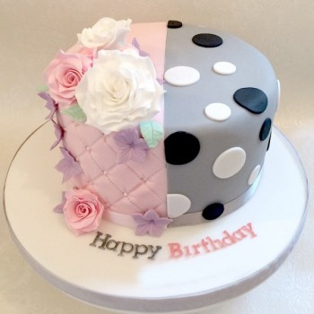 One Kg Strawberry and Vanilla Designer Fondant Birthday Cake