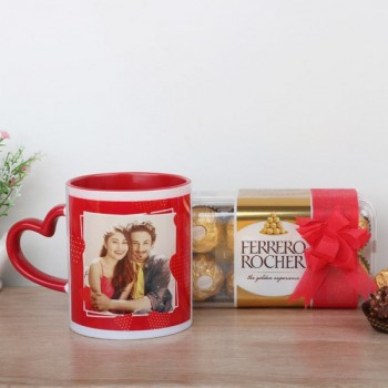 One Heart Handle Personalised Mug with Ferrero Rocher Chocolate 16 pcs Pack
