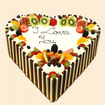 One Kg Heart Shaped Pineapple Fruit Cake