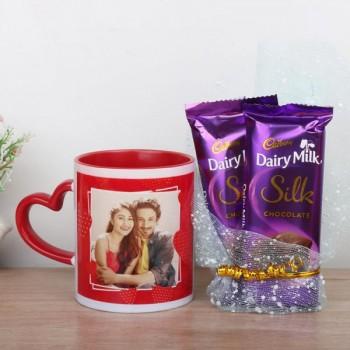 One Red Heart Handle Personalised Ceramic Mug with 2 Dairy Milk Silk Chocolate