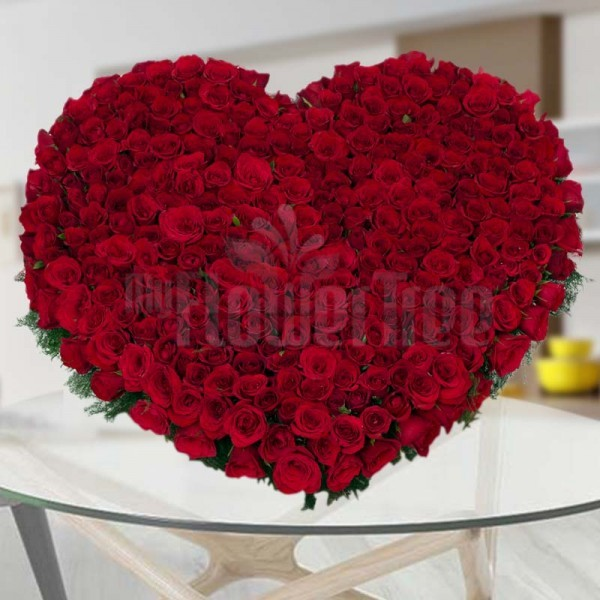 300 Red Roses in Heart-shaped Arrangement