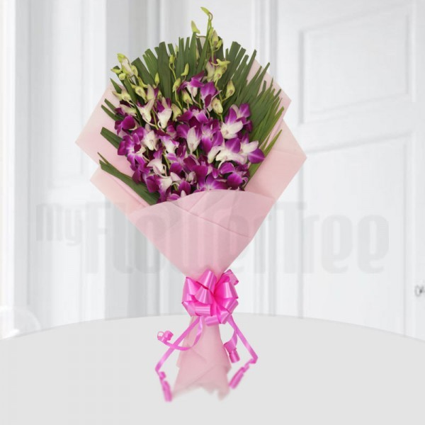 6 Purple Orchids - Arica Palm Leaves - Pink special paper