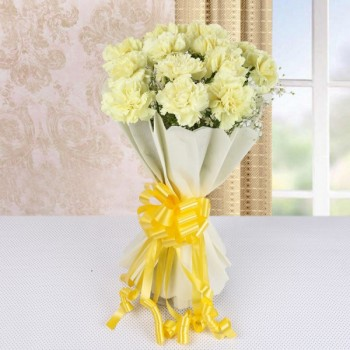 15 Yellow Carnations in White Paper Packing