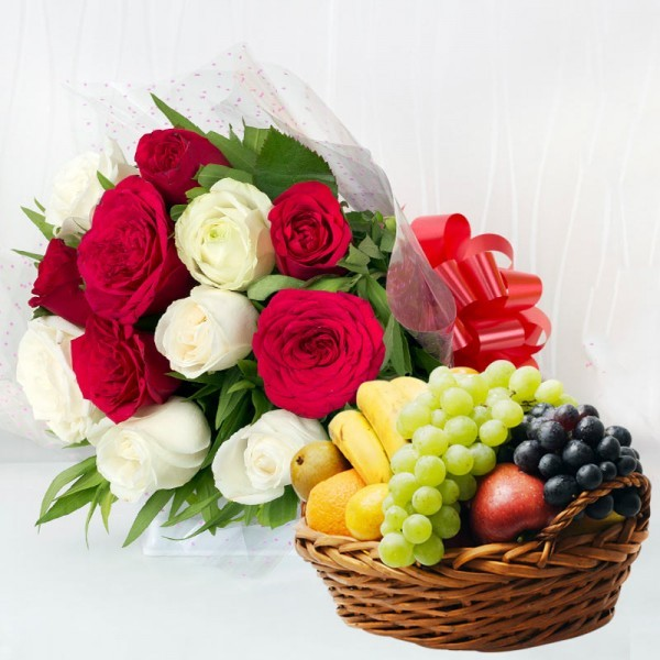 12 Roses (Red and White) in Cellophane Packing with 2 Kg Seasonal Fruits in Basket