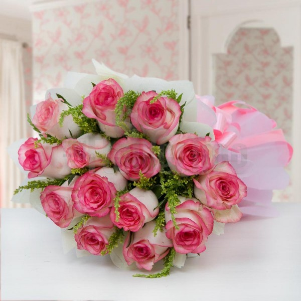 14 Pink Shaded Roses Bunch