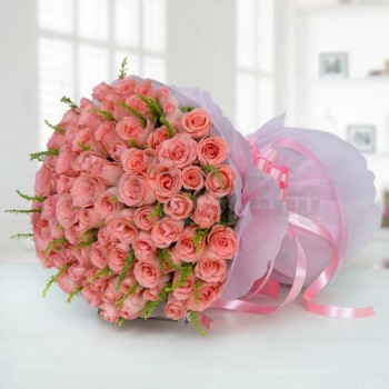 100 Pink Roses with Paper Packing