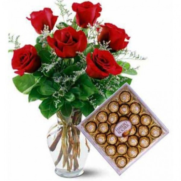 6 Red Roses with A box of 24 pcs of Ferrero Rocher Chocolates