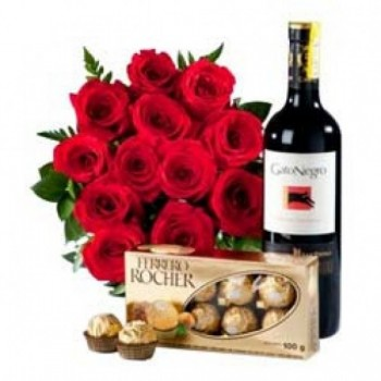 12 Red Roses with A Bottle of Wine and A box of 16 pcs of Ferrero Rocher Chocolates