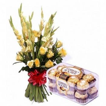 10 Yellow Glads with a box of 16 pcs of Ferrero Rocher Chocolates