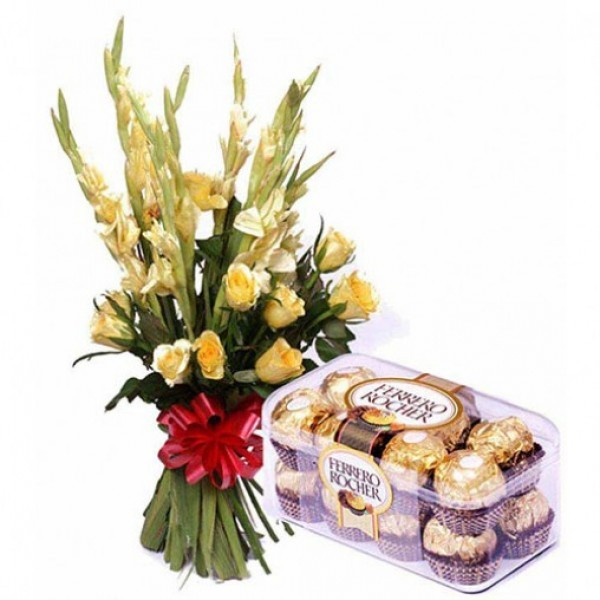 10 Yellow Glads with a box of 16 pcs of Ferrero Rocher Chocolates