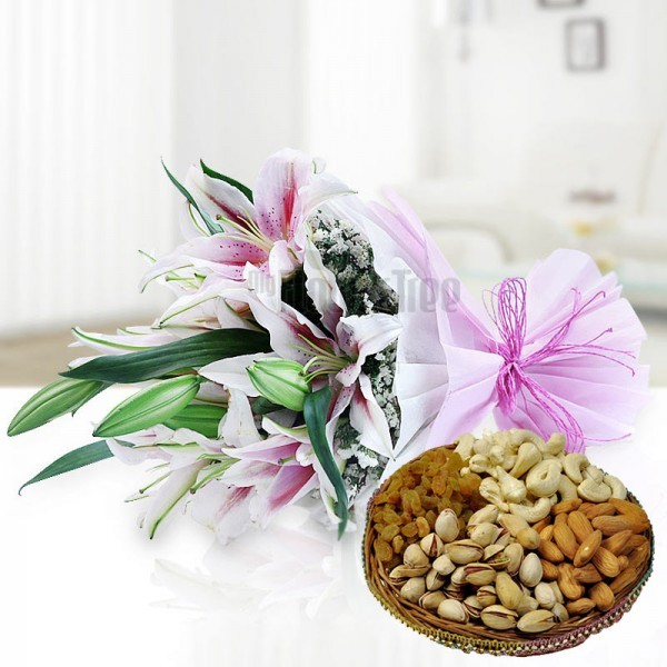 6 Oriental Pink Lilies in Pink and White Paper Packing, Pink Rafia Bow with Assorted Dry Fruits (250gms)
