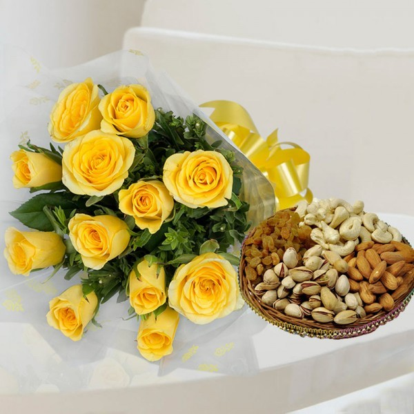 12 Yellow Roses in Cellophane Packing with Assorted Dry Fruits (250gms)