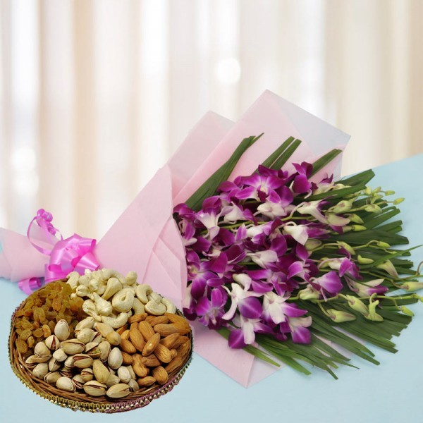 6 Purple Orchids in Pink Paper Packing, Pink Bow with Assorted Dry Fruits (250gms)