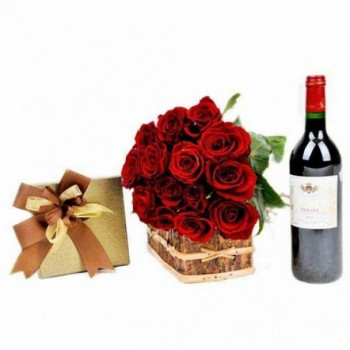 15 Red Roses with A Bottle of Wine and A box of 16 pcs of Ferrero Rocher Chocolates