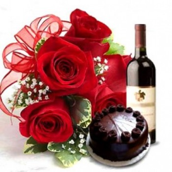 6 Red Rose with Half Kg Dark Chocolate Cake and Bottle Of Red Wine