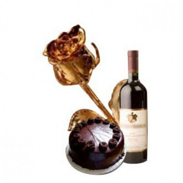 Gold Plated Rose(6 inch) with Half Kg Dark Chocolate Cake and Bottle Of Red Wine