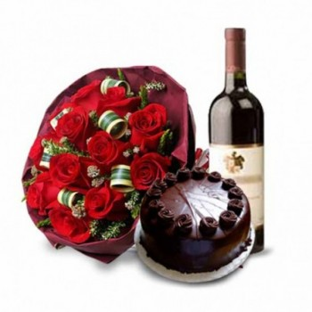 12 Red roses in Paper Packing with Bottle of Red Wine and Half Kg Chocolate Cake