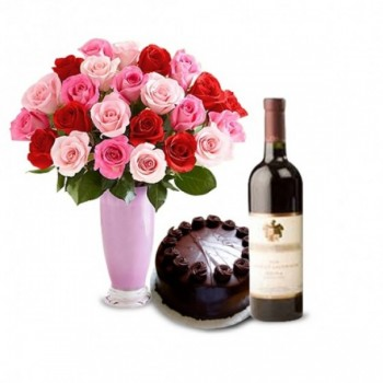 20 Roses (Pink, White & Red) with Half Kg Dark Chocolate Cake and Red Wine Bottle in a Vase