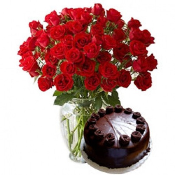 50 Red Roses with Dark Chocolate Cake (Half kg) in a Glass Vase