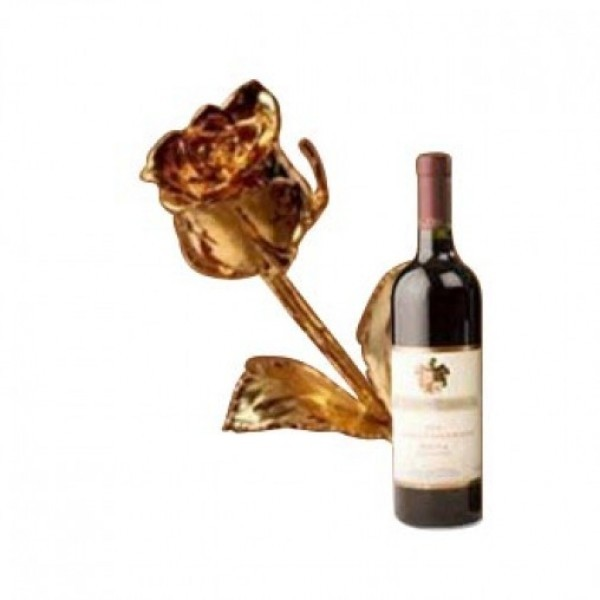 6 Inches Gold Plated Rose with Bottle Of Red Wine