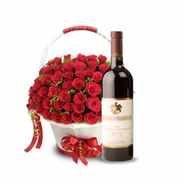 60 Red Roses with Bottle Of Red Wine in a Basket