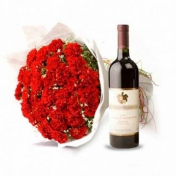 20 Red Carnations with Bottle Of Red Wine