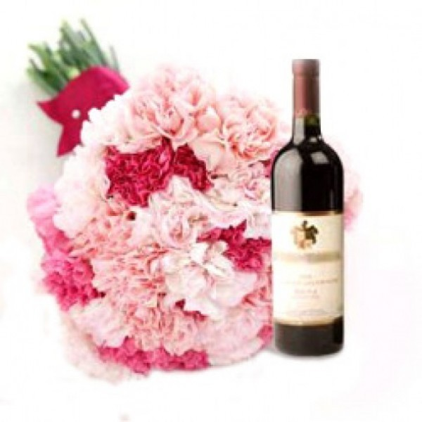 15 Pink Carnations with Bottle Of Red Wine
