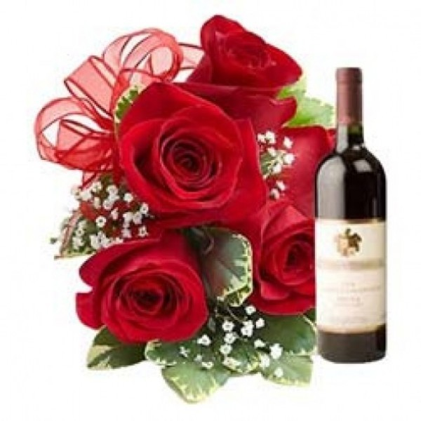 6 Red Roses Bunch with Bottle Of Red Wine