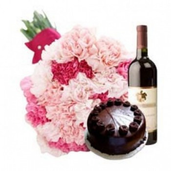 15 Carnations (Light & Dark Pink Mix) with Half Kg Dark Chocolate Cake and Bottle Of Red Wine