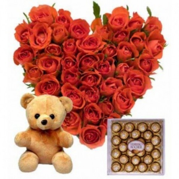 60 Red Roses Heart Shape Arrangement with Teddy Bear (6 inches) and Ferrero Rocher Chocolate (16 Pcs)