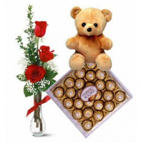 3 Red Roses in a vase with Teddy bear ( 6 inches) and 24 pcs Ferrero Rocher Chocolate