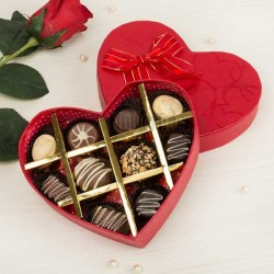 10 Assorted Homemade Chocolates in Heart Shaped Box